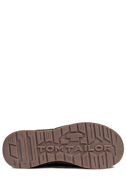 Tom Tailor Herren Schuh Herbst Worker Halbstiefel Materimix zum schnüren cognac braun