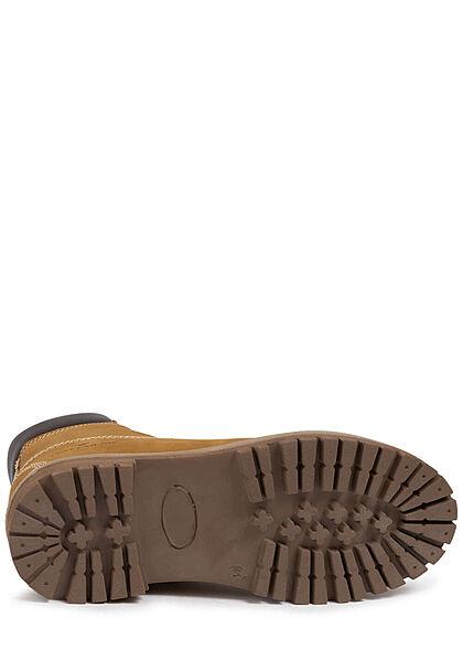 Tom Tailor Herren Schuh Winter Halbstiefel zum schnüren gefüttert camel braun