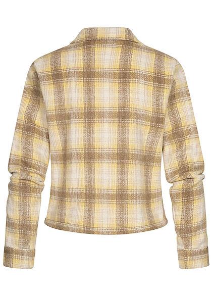 ONLY Damen NOOS kurze Wolljacke Knopfleiste Karo Muster sunshine gelb