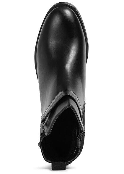 Seventyseven Lifestyle Damen Schuh Kunstleder Stiefelette Materialmix Zipper schwarz