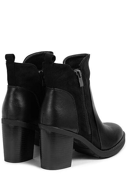 Seventyseven Lifestyle Damen Schuh Kunstleder Stiefelette Materialmix 2 Zipper schwarz