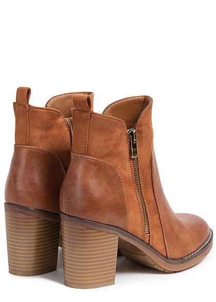 Seventyseven Lifestyle Damen Schuh Kunstleder Stiefelette Materialmix 2 Zipper camel