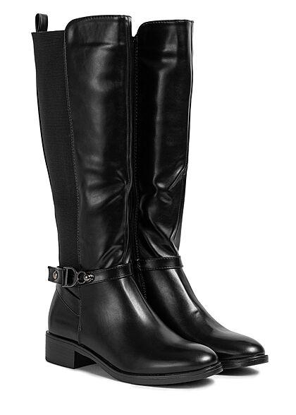 Seventyseven Lifestyle Damen Schuh Kunstleder Stiefel mit Deko Schnalle schwarz