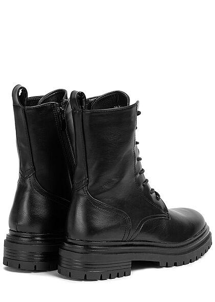 Seventyseven Lifestyle Damen Schuh Schnürrstiefel Zipper Kunstleder schwarz