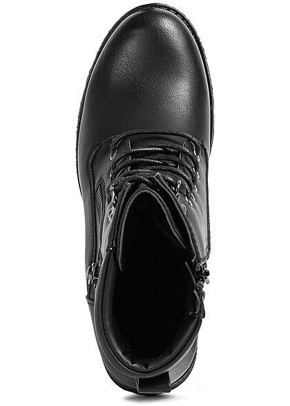 Seventyseven Lifestyle Damen Schuh Halbstiefelette Kunstl. Zipper zum schnüren schwarz