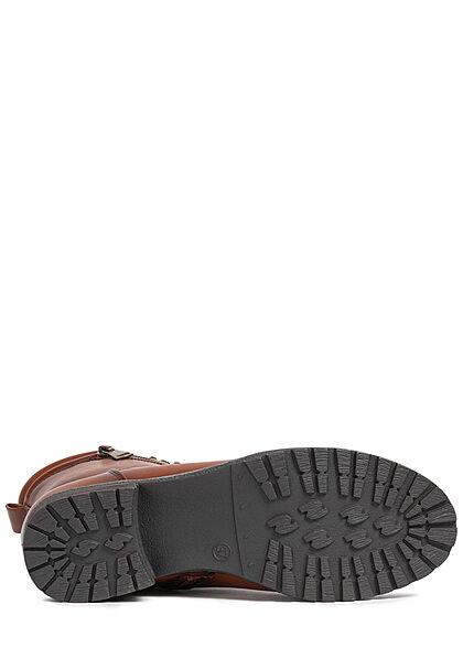 Seventyseven Lifestyle Damen Schuh Halbstiefelette Kunstl. Zipper zum schnüren camel