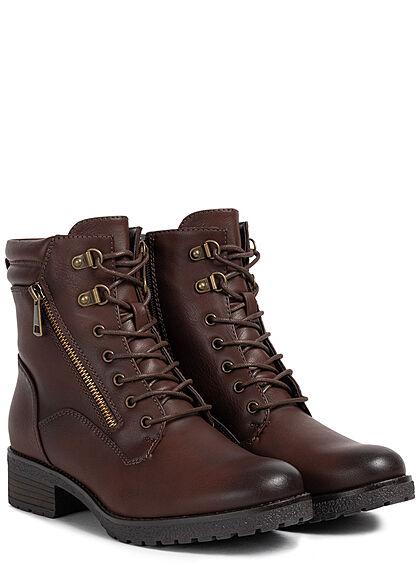 Seventyseven Lifestyle Damen Schuh Halbstiefelette Kunstl. Zipper zum schnüren d. braun