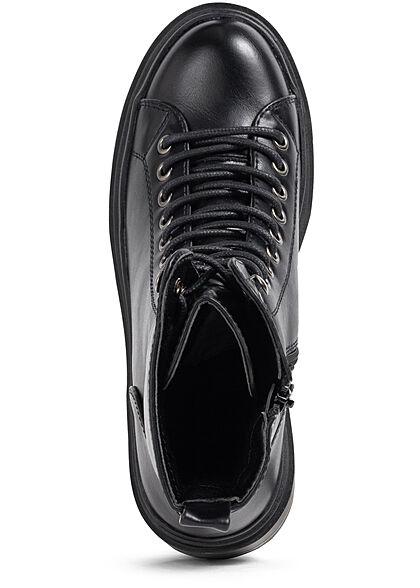 Seventyseven Lifestyle Damen Schuh Halbschnürrstiefel Zipper Kunstleder schwarz
