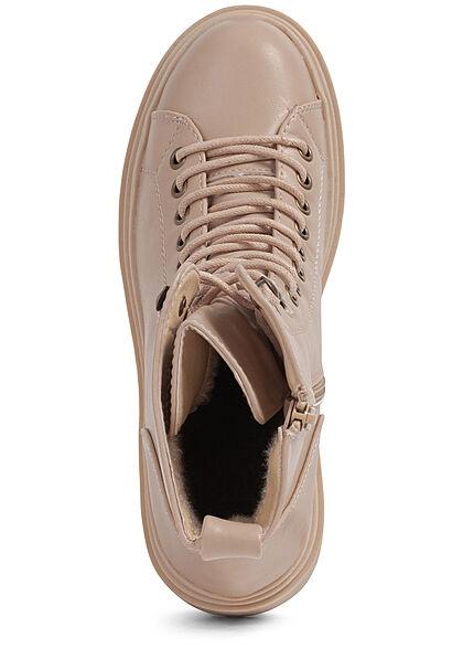 Seventyseven Lifestyle Damen Schuh Halbschnürrstiefel Zipper Kunstleder cream beige