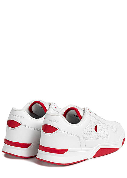 Champion Herren Low Cut Schuh 2-Tone Kunstleder Sneaker weiss rot
