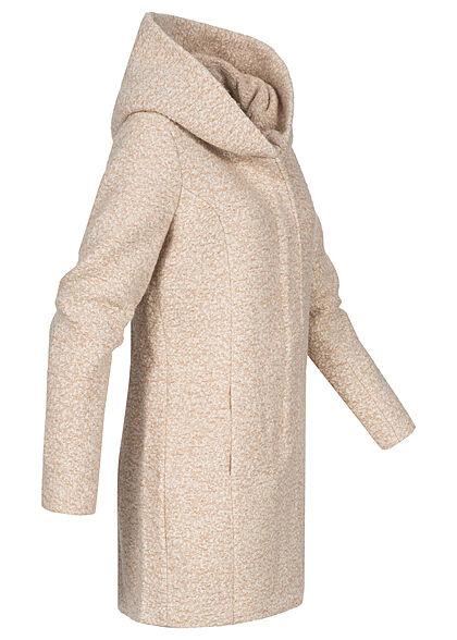 ONLY Damen Midi Woll Coatigan Jacke mit überlappender Kapuze 2-Pockets incense braun