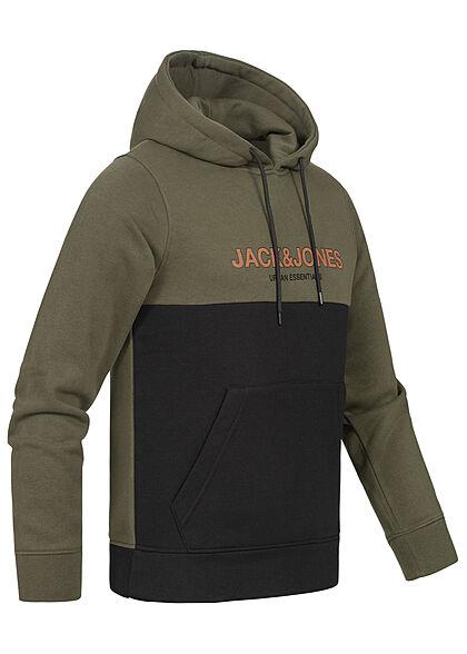 Jack and Jones Herren NOOS 2-Tone Sweat Hoodie Logo Print Kängurutasche forest night