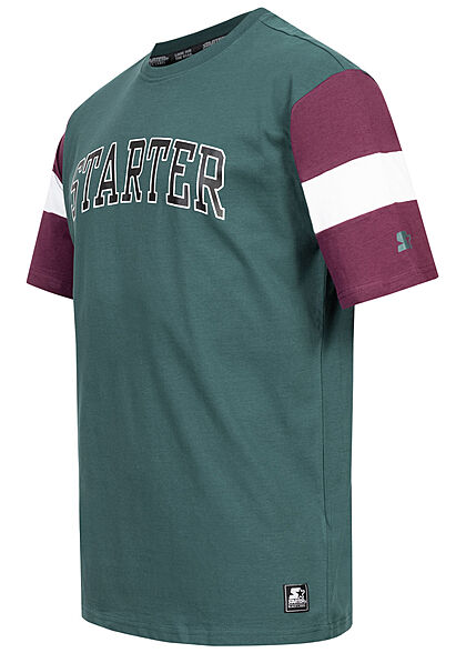 Starter Herren T-Shirt Oversized Logo Print teal grün lila weiss