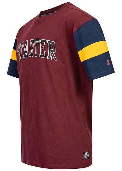 Starter Herren T-Shirt Oversized Logo Print rot dunkel blau gelb