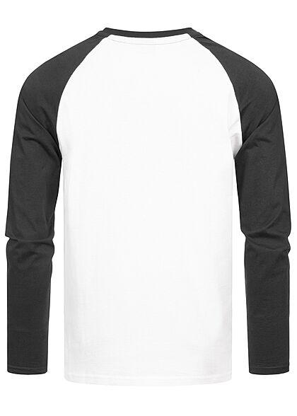 Starter Herren leichter Raglan Pullover Longsleeve Logo Print weiss schwarz
