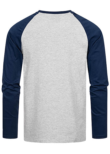 Starter Herren leichter Raglan Pullover Longsleeve Logo Print hellgrau dunkel blau