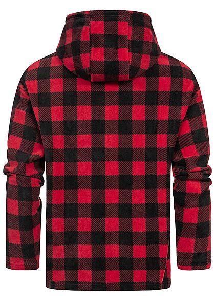 Urban Classics Herren Half-Zip Fleece Hoodie Pull Over Jacke kariert rot schwarz