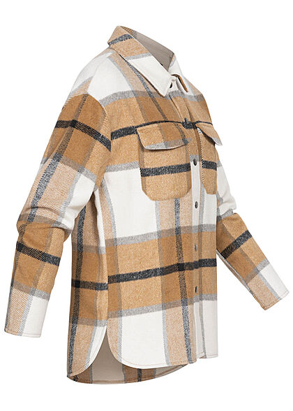 ONLY Damen Shacket Hemdjacke Karo Muster 2 Brusttaschen Knopfleiste cloud weiss braun