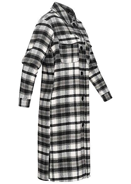 JDY by ONLY Damen Longform Shacket Hemdjacke Karo Muster 2 Brusttaschen schwarz weiss
