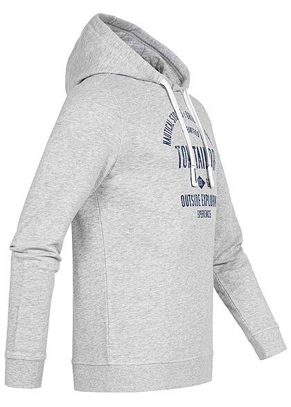 Tom Tailor Herren Hoodie mit Kapuze Logo Print Tunnelzug hellgrau melange blau