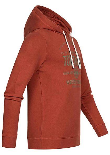 Tom Tailor Herren Hoodie mit Kapuze Logo Print Tunnelzug chili oil rot grau