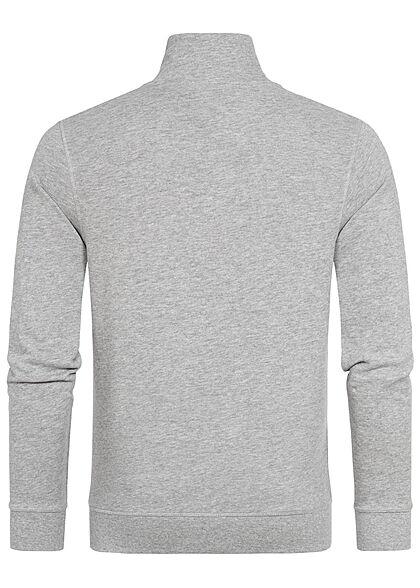 Tom Tailor Herren Sweatjacke Mit Logo Print & Stehkragen Zipper medium grau melange