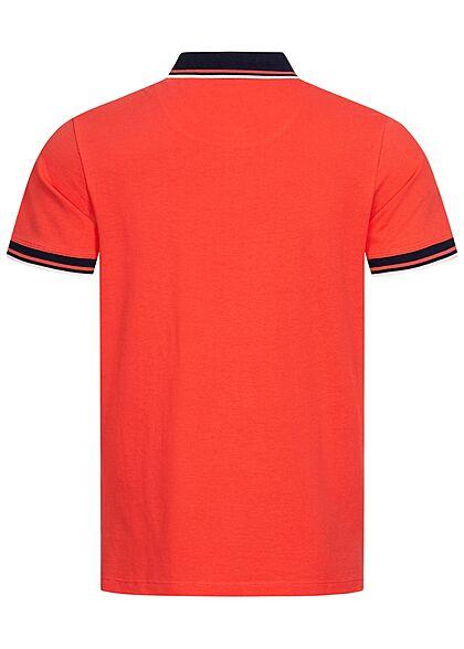 Tom Tailor Herren Polo T-Shirt Logo Print Knopfleiste plain rot blau