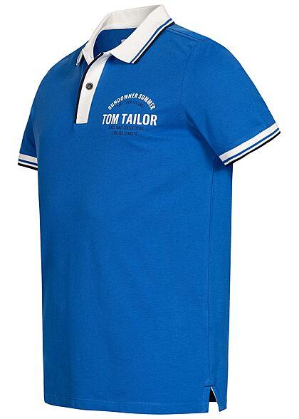 Tom Tailor Herren Polo T-Shirt Logo Print Knopfleiste victory blau weiss