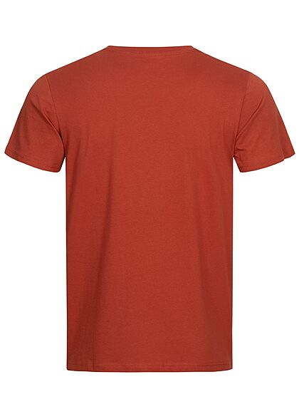 Tom Tailor Herren T-Shirt mit Logo Print chili oil rot