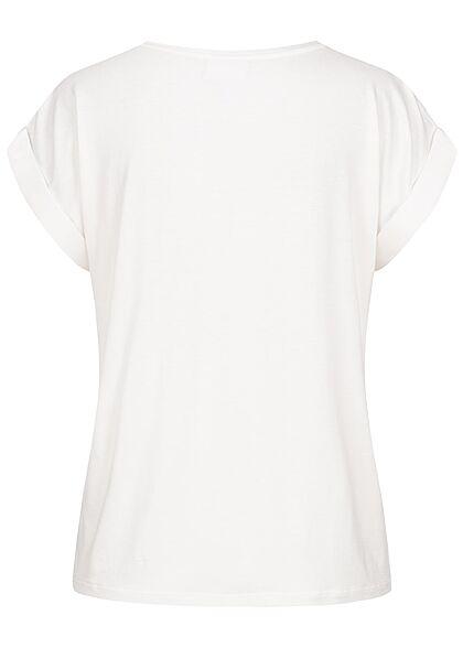 VILA Damen NOOS Satin Blusen Shirt mit Flügelärmeln Materialmix snow weiss