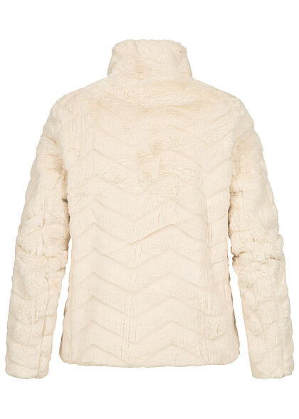 VILA Damen NOOS Kunstfelljacke mit Stehkragen 2-Pockets Strukturstoff birch beige