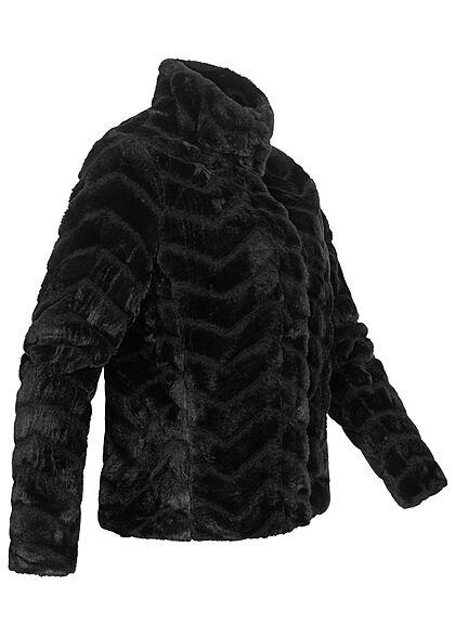 VILA Damen NOOS Kunstfelljacke mit Stehkragen 2-Pockets Strukturstoff schwarz