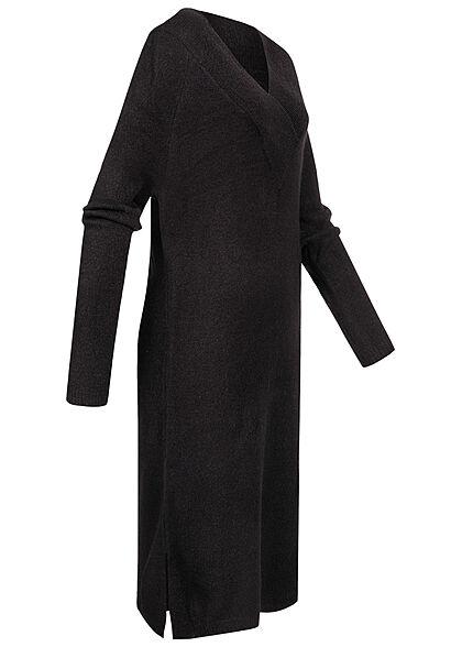VILA Damen NOOS Midi V-Neck Strickkleid Schlitze seitlich Gerippte Säume schwarz