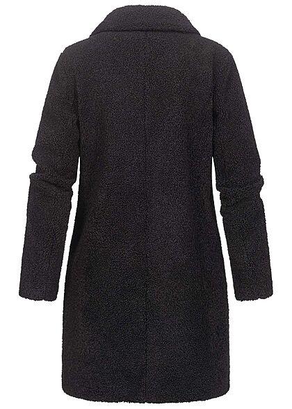 VILA Damen NOOS Teddyfell Jacke Mantel 2-Pockets Knopfleiste schwarz