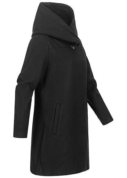 VILA Damen NOOS High-Neck Coatigan Jacke mit Kapuze 2-Pockets schwarz