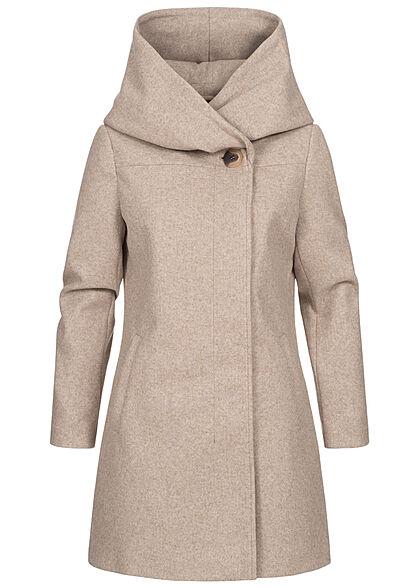 VILA Damen NOOS High-Neck Coatigan Jacke mit Kapuze 2-Pockets natural melange