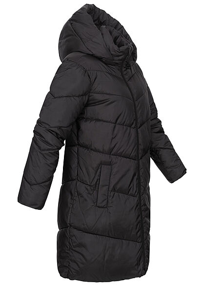 VILA Damen NOOS Winter Steppmantel mit Kapuze 2-Pockets schwarz