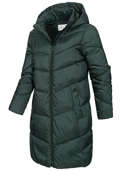 VILA Damen NOOS Winter Steppmantel mit Kapuze 2-Pockets darkest spruce grün