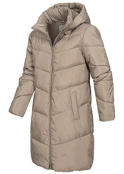 VILA Damen NOOS Winter Steppmantel mit Kapuze 2-Pockets fungi grau