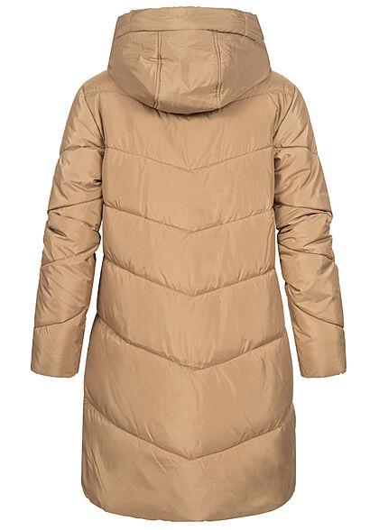 VILA Damen NOOS Winter Steppmantel mit Kapuze 2-Pockets tigers eye braun