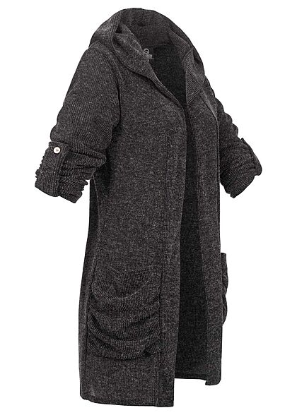 Styleboom Fashion Damen Turn-Up Cardigan mit Kapuze 2-Pockets dunkel grau melange