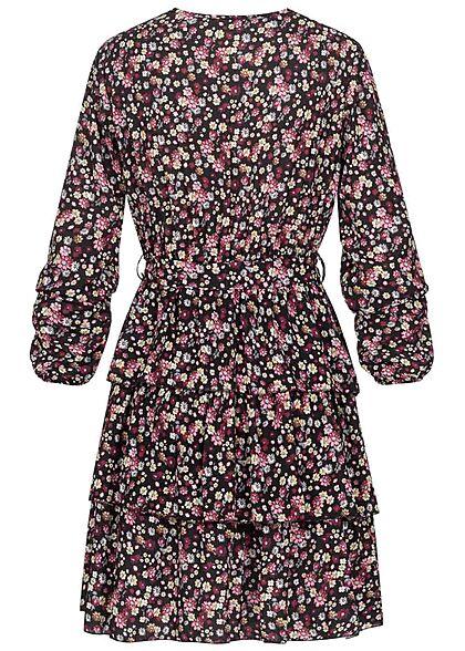 Styleboom Fashion Damen V-Neck Kleid in Wickeloptik Blumen Print schwarz multic.