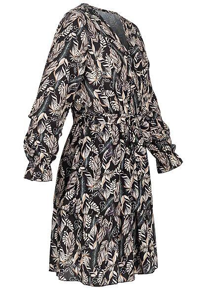 Styleboom Fashion Damen V-Neck Kleid in Wickeloptik Federn Print schwarz beige
