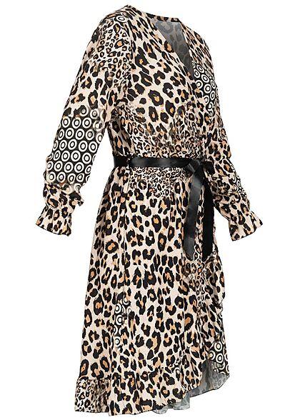 Styleboom Fashion Damen V-Neck Wickelkleid Bindegürtel Leo Print  beige schwarz