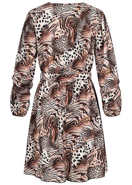 Styleboom Fashion Damen V-Neck Chiffon Kleid Animal Print Knopfleiste schwarz