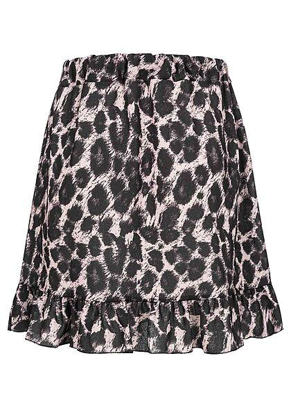 Styleboom Fashion Damen Mini Chiffon Wickelrock zum binden Animal Print schwarz gr