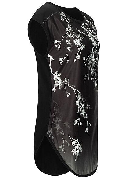 Styleboom Fashion Damen Blusen Shirt Floraler Print Materialmix schwarz