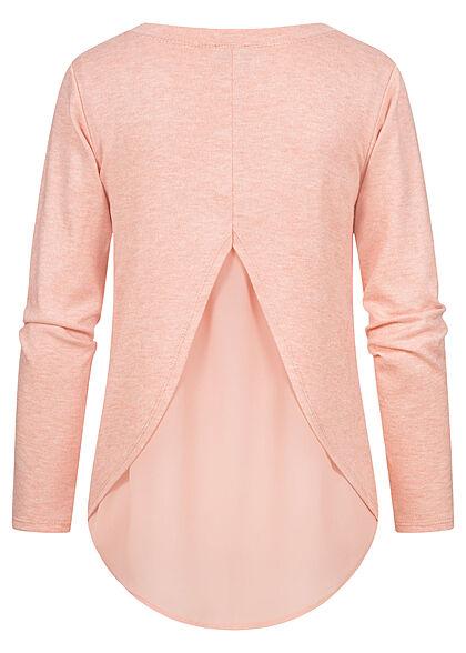 Styleboom Fashion Damen Pullover mit Bluseneinsatz rose