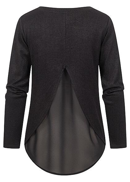 Styleboom Fashion Damen Pullover mit Bluseneinsatz schwarz