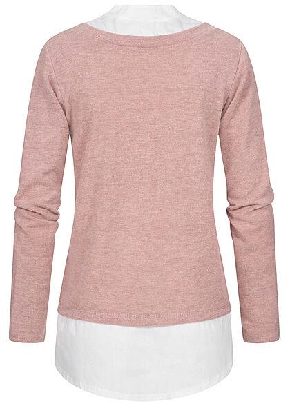 Styleboom Fashion Damen Pullover mit V-Neck Bluseneinsatz rose weiss